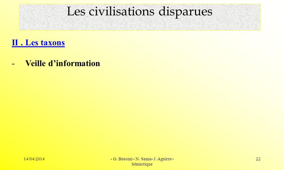 14/04/2014- G. Besomi - N. Sama- J. Aguirre - Sémiotique 22 Les civilisations disparues II. Les taxons - Veille dinformation