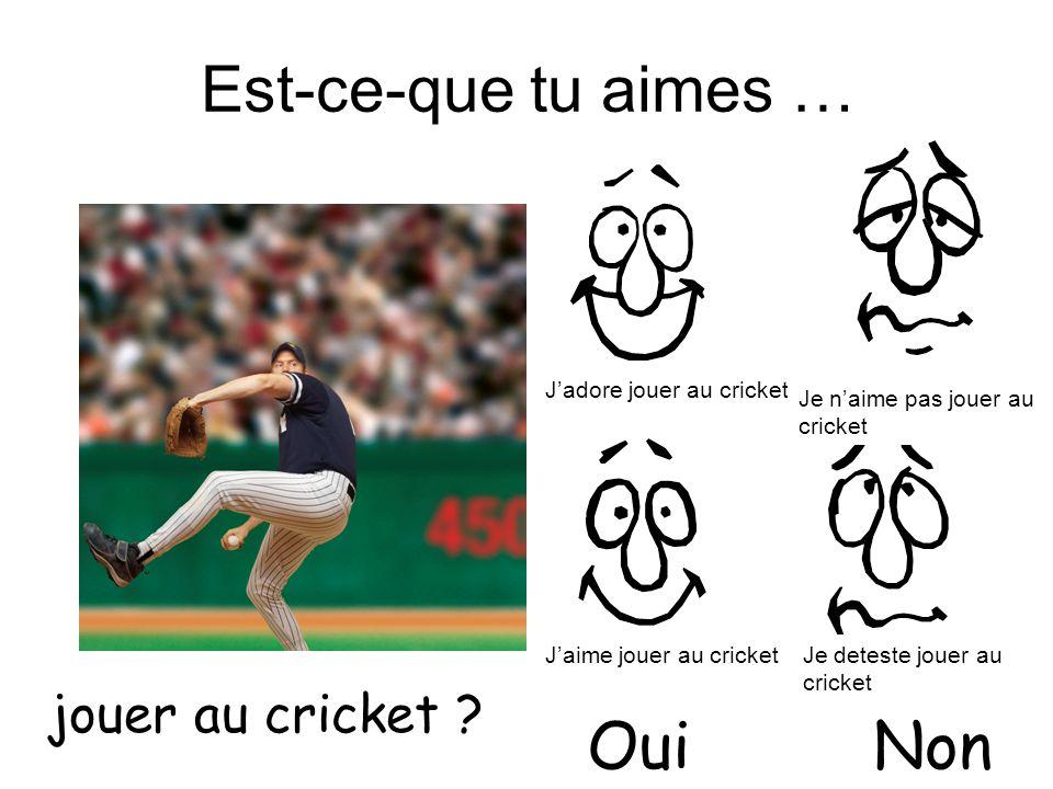 Est-ce-que tu aimes … jouer au cricket ? OuiNon Jadore jouer au cricket Jaime jouer au cricket Je naime pas jouer au cricket Je deteste jouer au crick