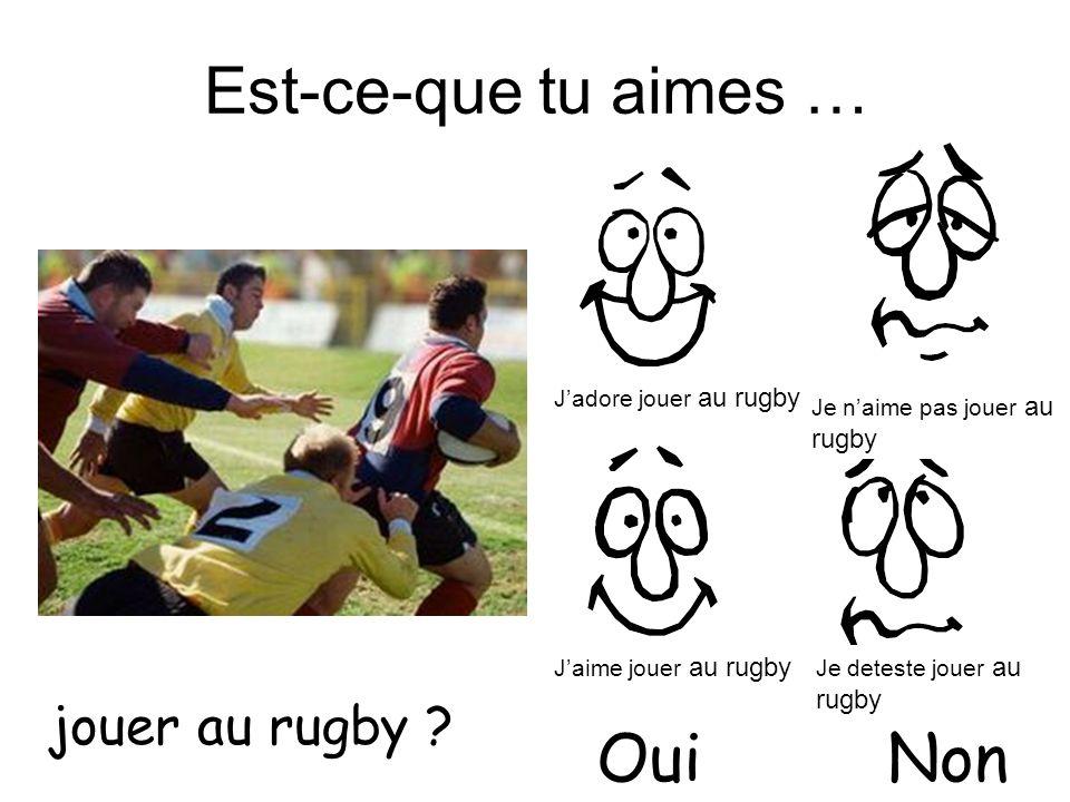 Est-ce-que tu aimes … jouer au rugby ? OuiNon Jadore jouer au rugby Jaime jouer au rugby Je naime pas jouer au rugby Je deteste jouer au rugby