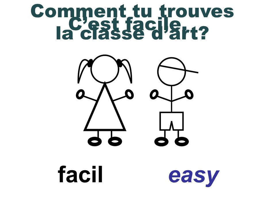 difficile difficult Comment tu trouves la classe de maths Cest difficile.
