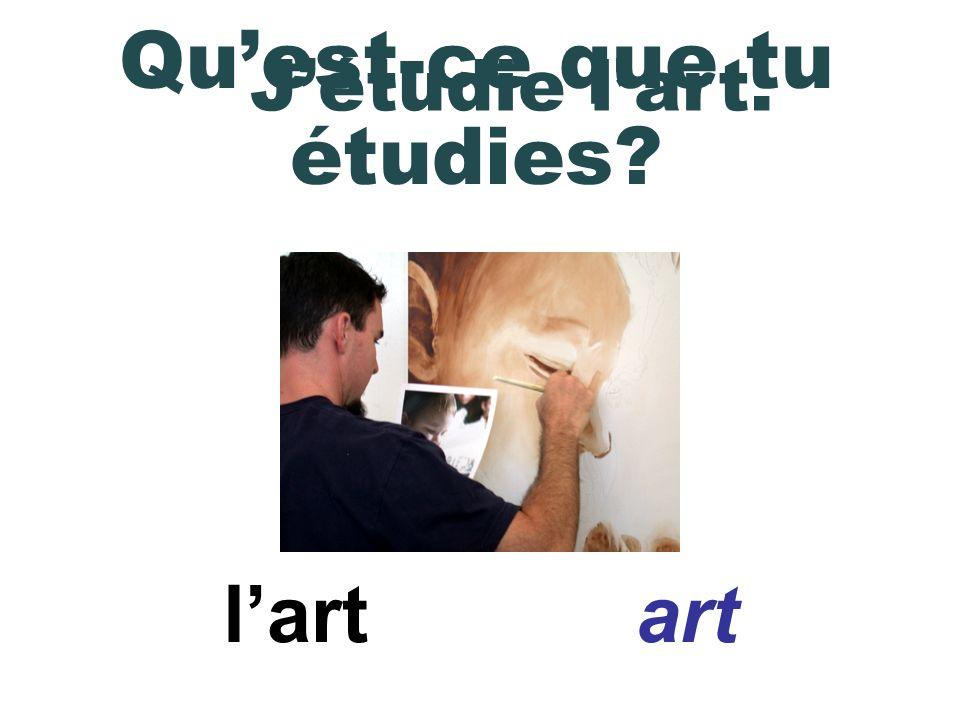 Dans la classe de français jétudie les verbes.In French class, I am studying verbs.