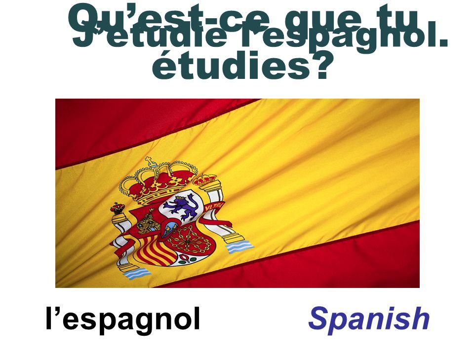 lespagnol Spanish Jétudie lespagnol. Quest-ce que tu étudies?