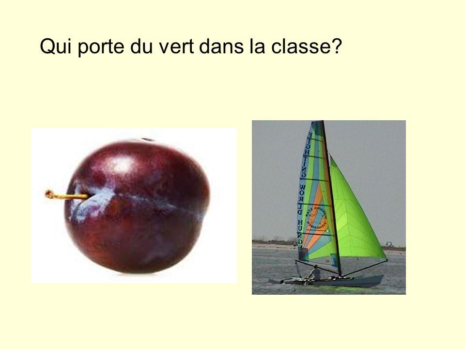 Qui porte du vert dans la classe?