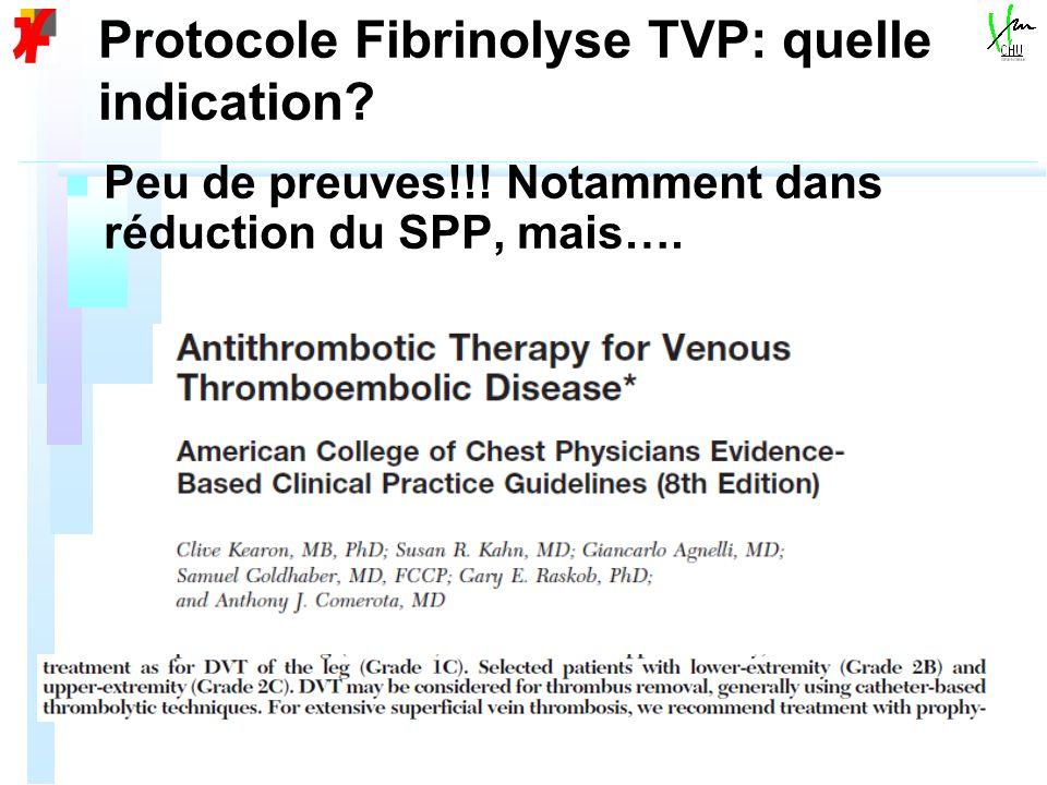 Protocole Fibrinolyse TVP: quelle indication? n n Peu de preuves!!! Notamment dans réduction du SPP, mais….