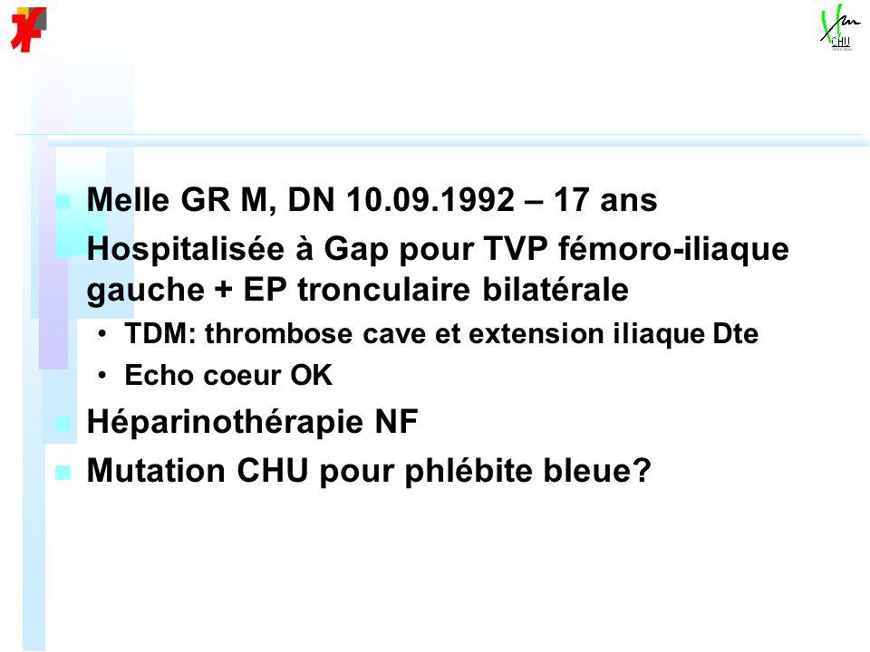 n n Melle GR M, DN 10.09.1992 – 17 ans n n Hospitalisée à Gap pour TVP fémoro-iliaque gauche + EP tronculaire bilatérale TDM: thrombose cave et extension iliaque Dte Echo coeur OK n n Héparinothérapie NF n n Mutation CHU pour phlébite bleue?