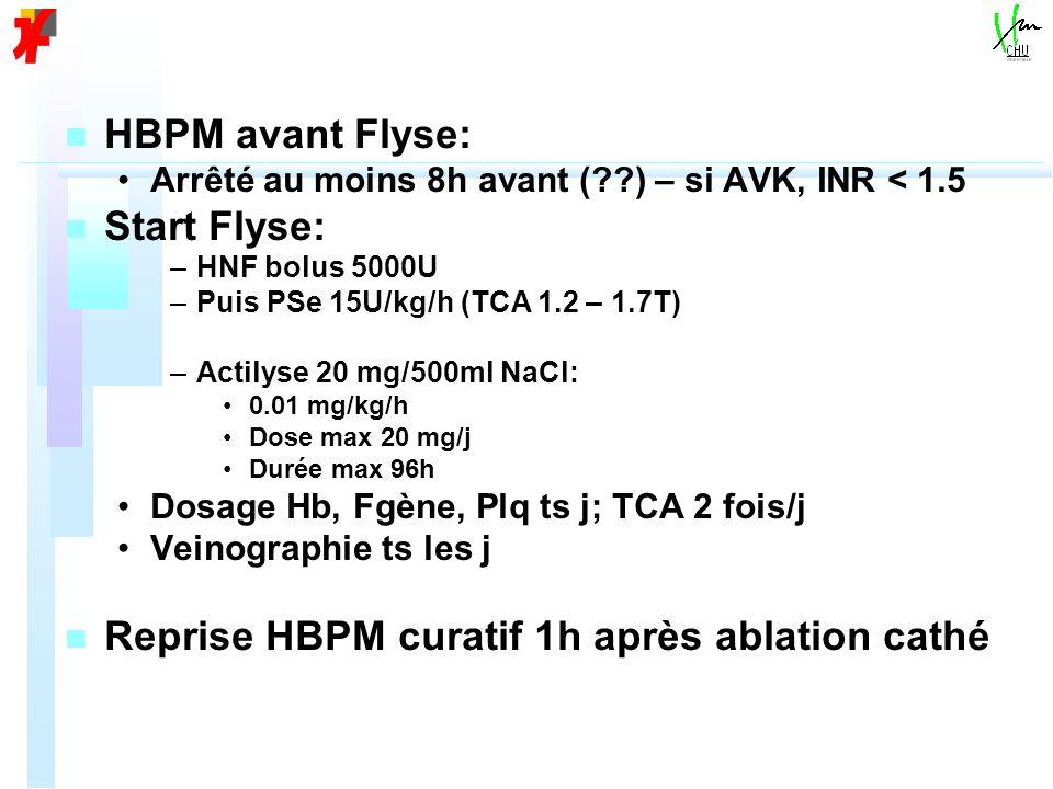 n n HBPM avant Flyse: Arrêté au moins 8h avant (??) – si AVK, INR < 1.5 n n Start Flyse: – –HNF bolus 5000U – –Puis PSe 15U/kg/h (TCA 1.2 – 1.7T) – –Actilyse 20 mg/500ml NaCl: 0.01 mg/kg/h Dose max 20 mg/j Durée max 96h Dosage Hb, Fgène, Plq ts j; TCA 2 fois/j Veinographie ts les j n n Reprise HBPM curatif 1h après ablation cathé