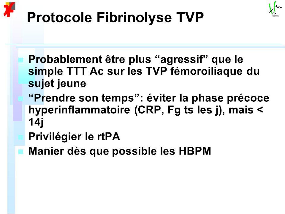 Protocole Fibrinolyse TVP n n Probablement être plus agressif que le simple TTT Ac sur les TVP fémoroiliaque du sujet jeune n n Prendre son temps: éviter la phase précoce hyperinflammatoire (CRP, Fg ts les j), mais < 14j n n Privilégier le rtPA n n Manier dès que possible les HBPM