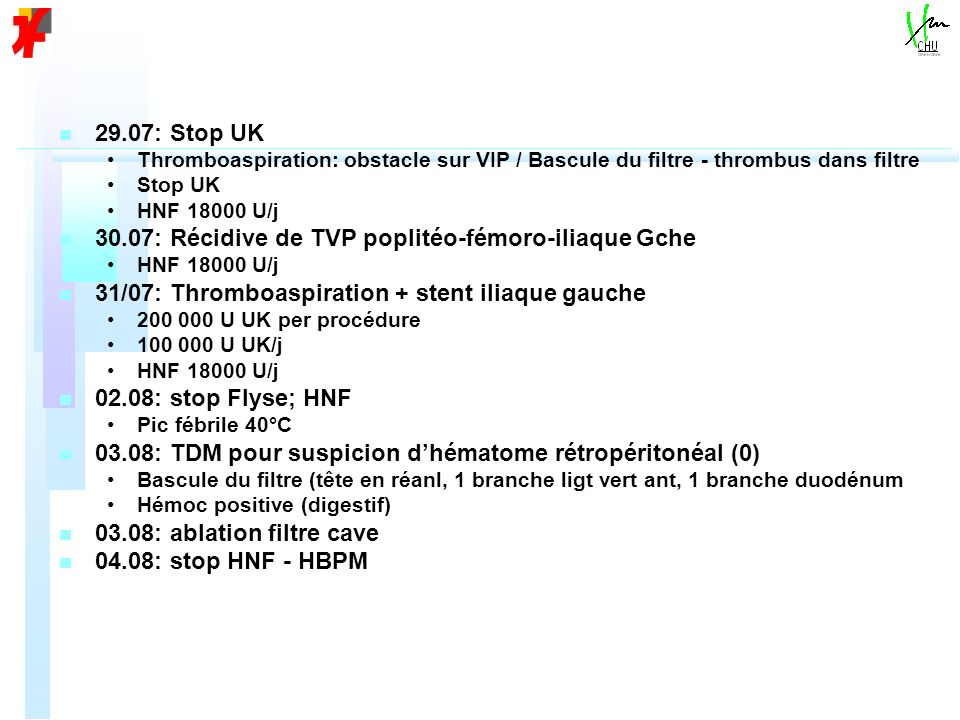 n n 29.07: Stop UK Thromboaspiration: obstacle sur VIP / Bascule du filtre - thrombus dans filtre Stop UK HNF 18000 U/j n n 30.07: Récidive de TVP pop