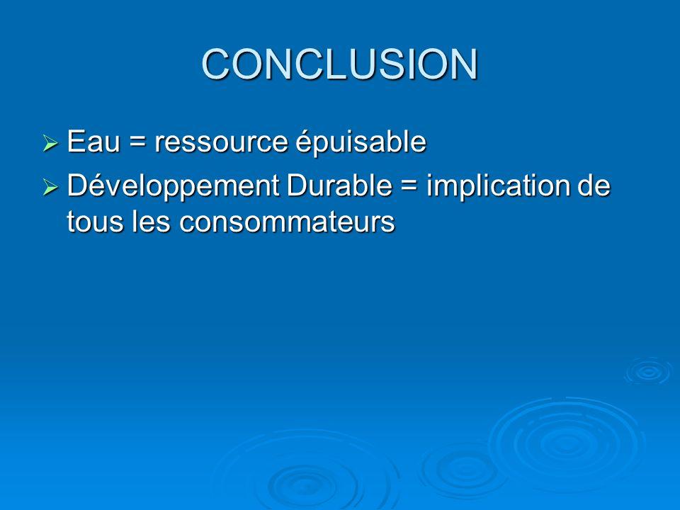 CONCLUSION Eau = ressource épuisable Eau = ressource épuisable Développement Durable = implication de tous les consommateurs Développement Durable = i