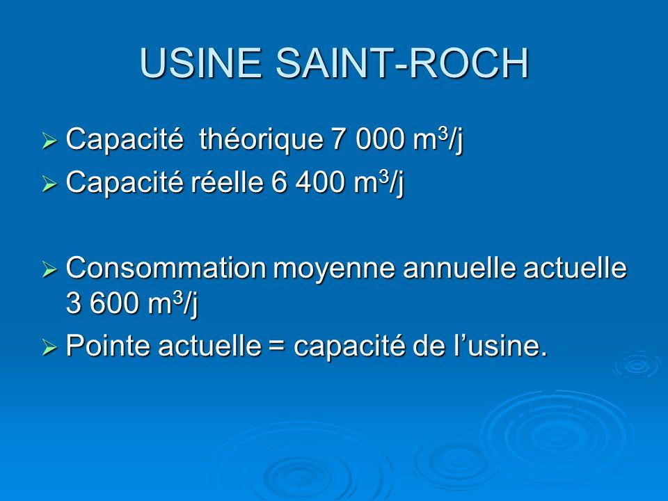 USINE SAINT-ROCH Capacité théorique 7 000 m 3 /j Capacité théorique 7 000 m 3 /j Capacité réelle 6 400 m 3 /j Capacité réelle 6 400 m 3 /j Consommatio