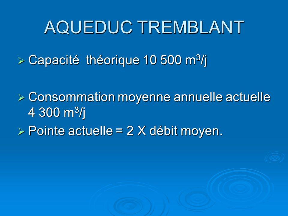 AQUEDUC TREMBLANT Capacité théorique 10 500 m 3 /j Capacité théorique 10 500 m 3 /j Consommation moyenne annuelle actuelle 4 300 m 3 /j Consommation m
