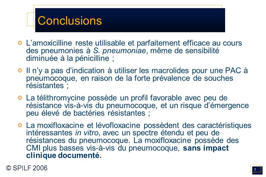 7 © SPILF 2006 Conclusions Lamoxicilline reste utilisable et parfaitement efficace au cours des pneumonies à S. pneumoniae, même de sensibilité diminu
