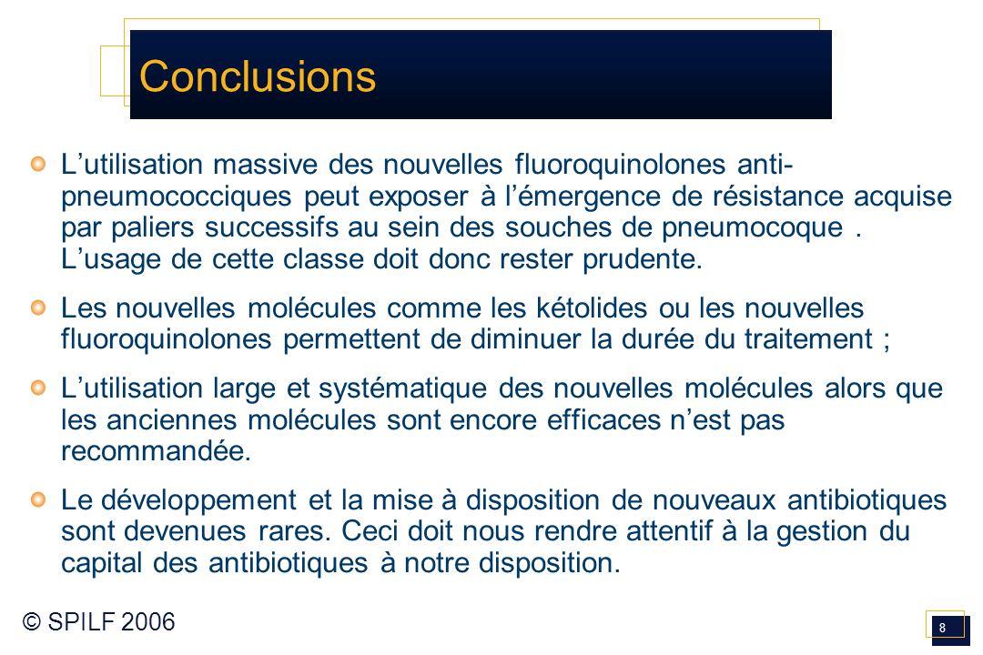 8 © SPILF 2006 Lutilisation massive des nouvelles fluoroquinolones anti- pneumococciques peut exposer à lémergence de résistance acquise par paliers s
