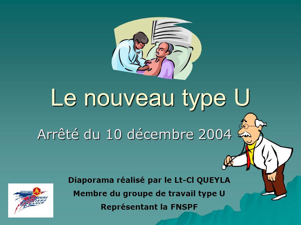 Le nouveau type U Arrêté du 10 décembre 2004 Diaporama réalisé par le Lt-Cl QUEYLA Membre du groupe de travail type U Représentant la FNSPF