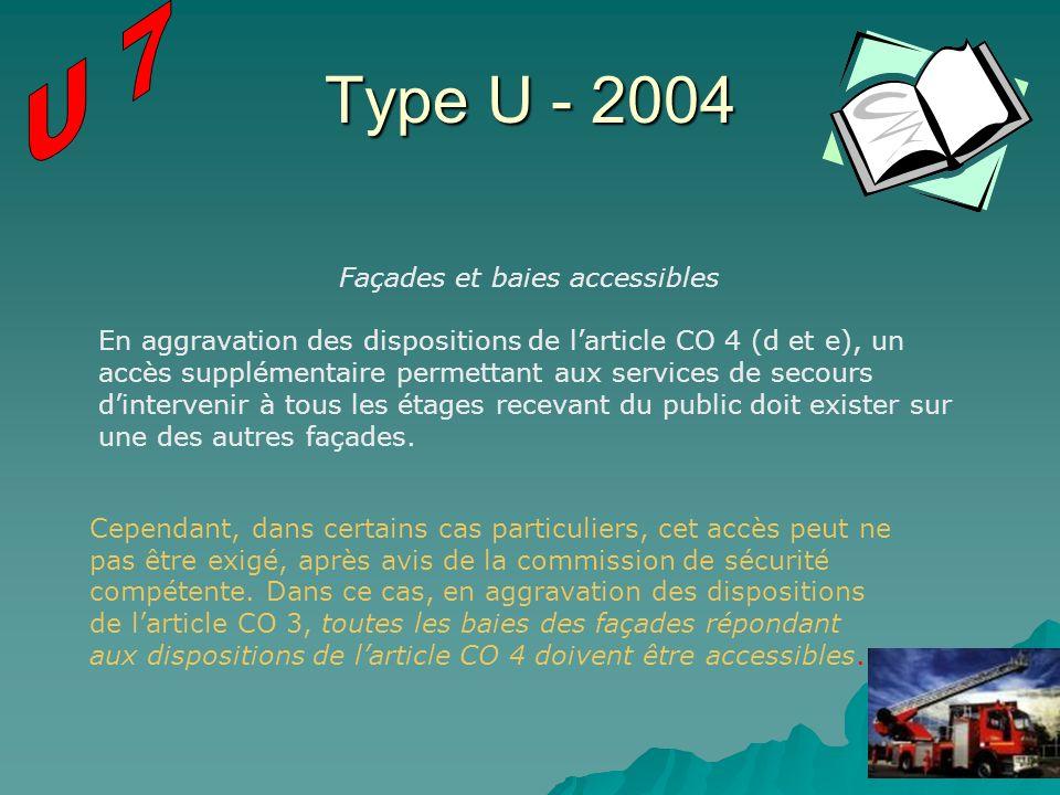 Type U - 2004 Façades et baies accessibles En aggravation des dispositions de larticle CO 4 (d et e), un accès supplémentaire permettant aux services