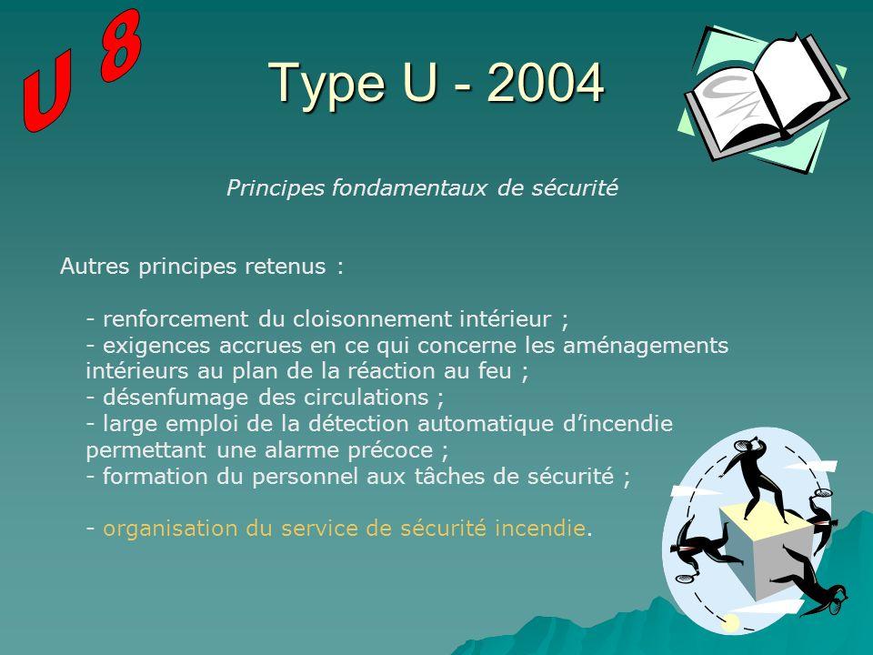 Type U - 2004 Principes fondamentaux de sécurité Autres principes retenus : - renforcement du cloisonnement intérieur ; - exigences accrues en ce qui