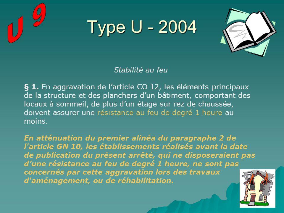 Type U - 2004 Stabilité au feu § 1. En aggravation de larticle CO 12, les éléments principaux de la structure et des planchers dun bâtiment, comportan