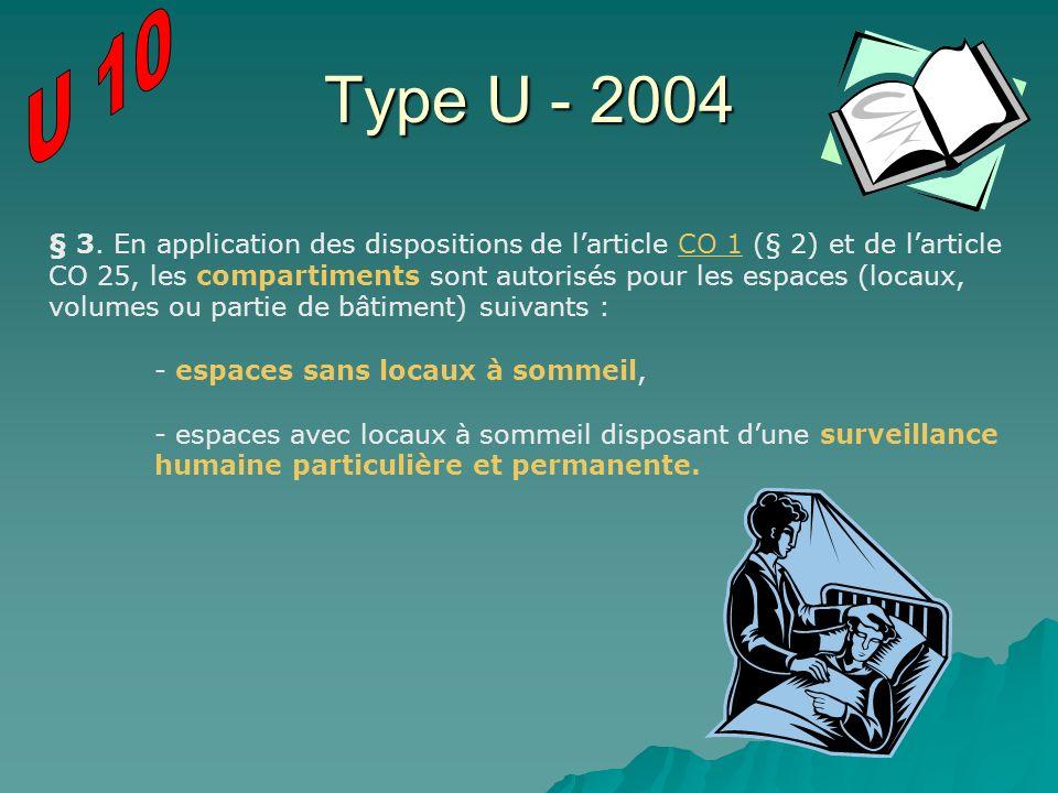 Type U - 2004 § 3. En application des dispositions de larticle CO 1 (§ 2) et de larticle CO 25, les compartiments sont autorisés pour les espaces (loc