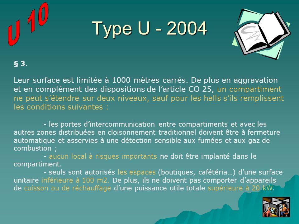 Type U - 2004 § 3. Leur surface est limitée à 1000 mètres carrés. De plus en aggravation et en complément des dispositions de larticle CO 25, un compa