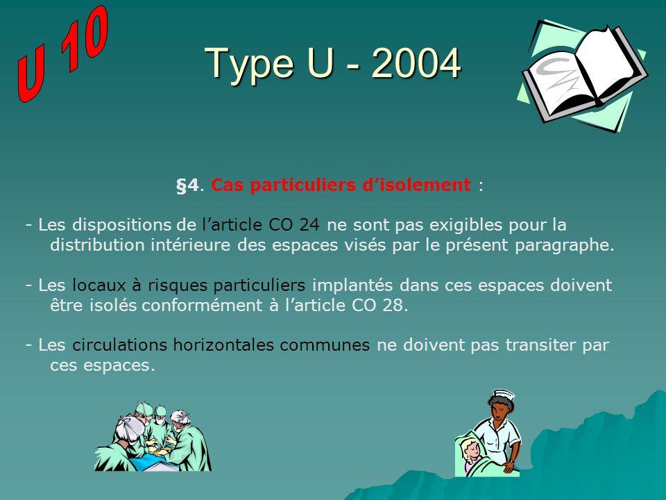 Type U - 2004 §4. Cas particuliers disolement : - Les dispositions de larticle CO 24 ne sont pas exigibles pour la distribution intérieure des espaces