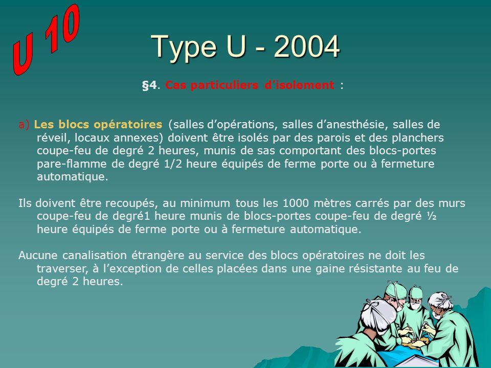 Type U - 2004 §4. Cas particuliers disolement : a) Les blocs opératoires (salles dopérations, salles danesthésie, salles de réveil, locaux annexes) do