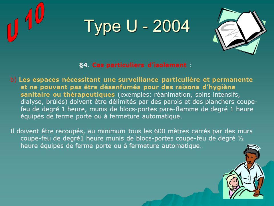 Type U - 2004 §4. Cas particuliers disolement : b) Les espaces nécessitant une surveillance particulière et permanente et ne pouvant pas être désenfum