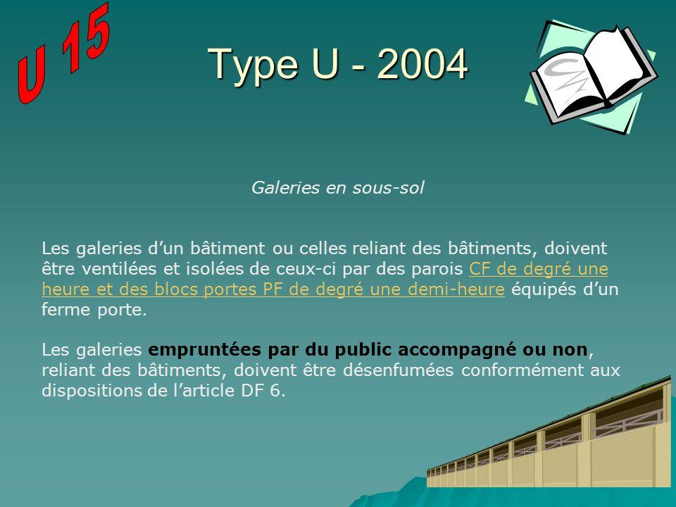Type U - 2004 Galeries en sous-sol Les galeries dun bâtiment ou celles reliant des bâtiments, doivent être ventilées et isolées de ceux-ci par des par