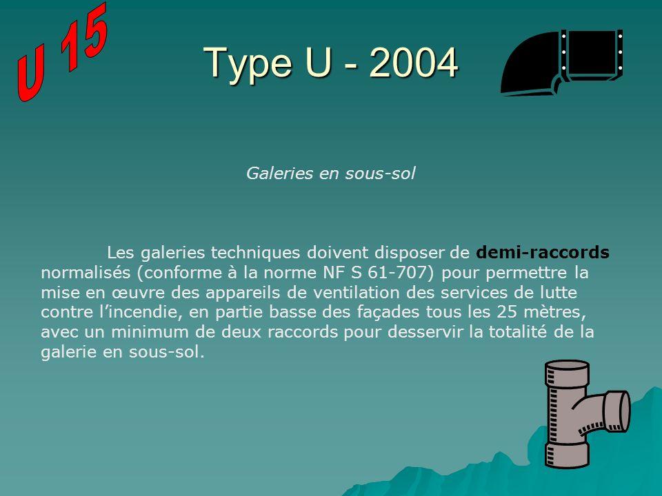 Type U - 2004 Galeries en sous-sol Les galeries techniques doivent disposer de demi-raccords normalisés (conforme à la norme NF S 61-707) pour permett