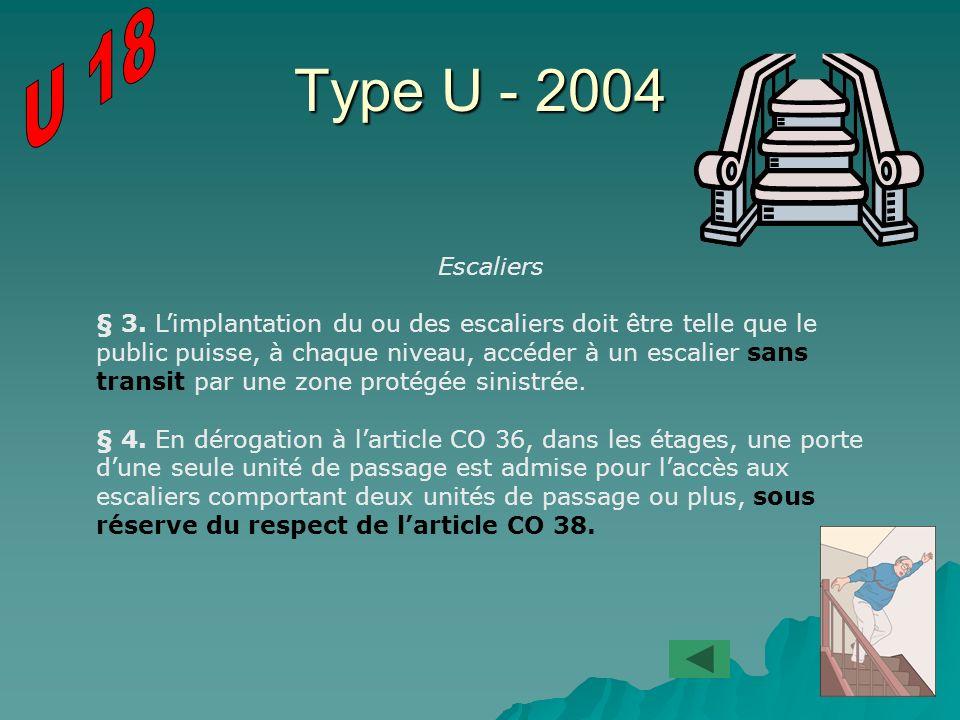 Type U - 2004 Escaliers § 3. Limplantation du ou des escaliers doit être telle que le public puisse, à chaque niveau, accéder à un escalier sans trans