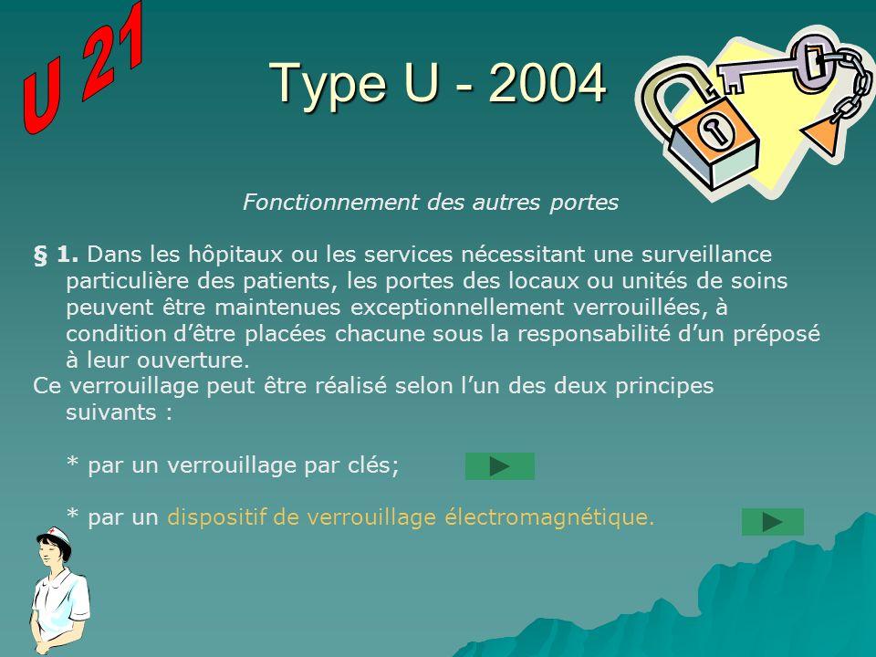 Type U - 2004 Fonctionnement des autres portes § 1. Dans les hôpitaux ou les services nécessitant une surveillance particulière des patients, les port