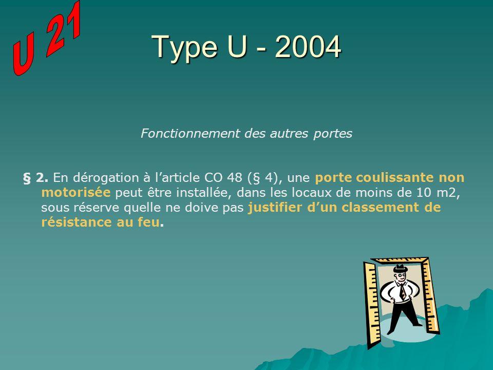 Type U - 2004 Fonctionnement des autres portes § 2. En dérogation à larticle CO 48 (§ 4), une porte coulissante non motorisée peut être installée, dan