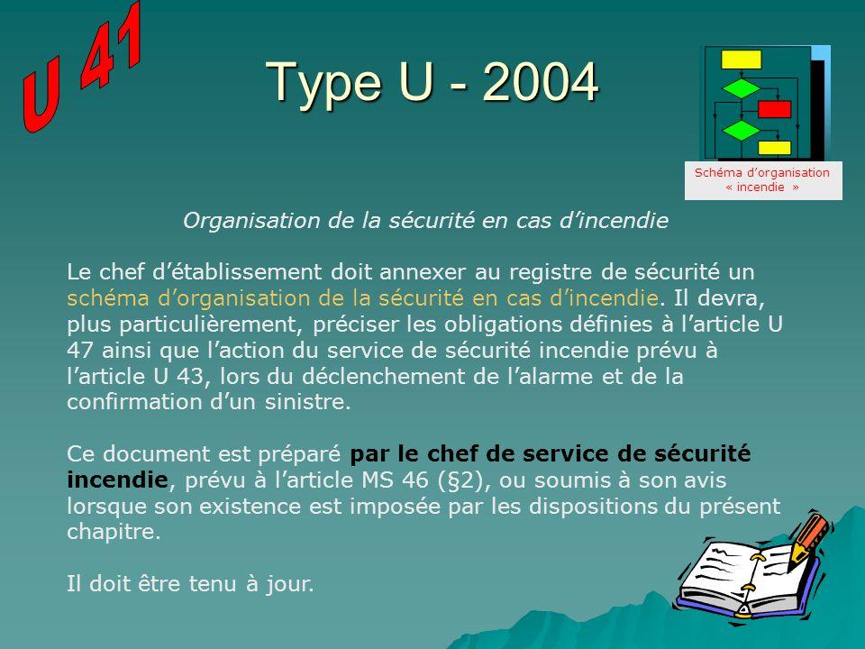 Type U - 2004 Organisation de la sécurité en cas dincendie Le chef détablissement doit annexer au registre de sécurité un schéma dorganisation de la s