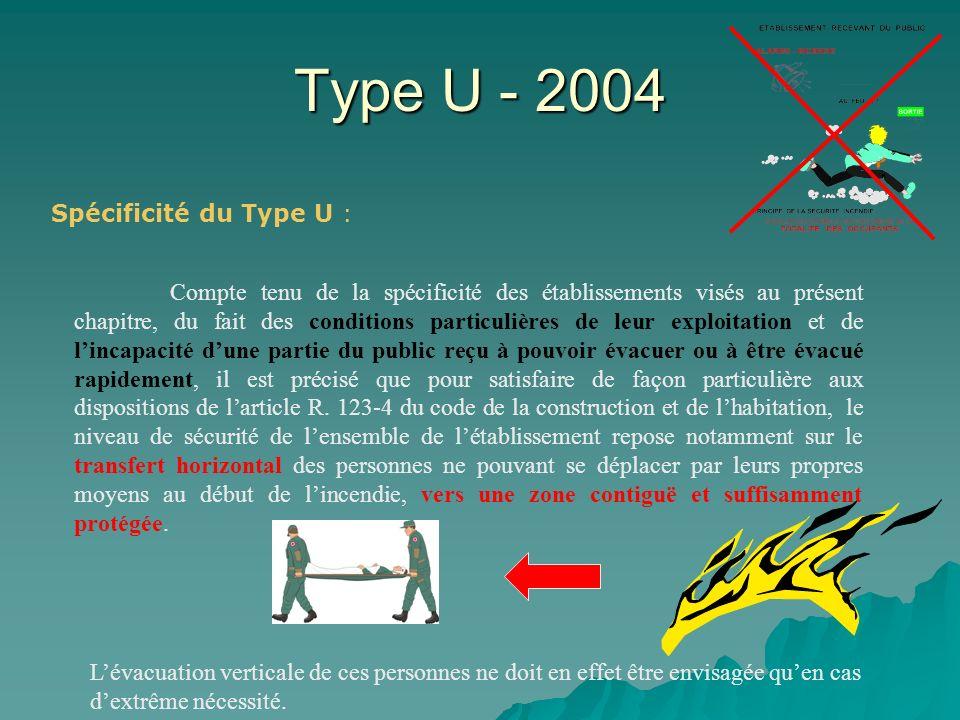 Type U - 2004 Objectifs du nouvel arrêté : Mettre en adéquation les dispositions constructives «sécurité incendie» (mesures passives) avec lorganisation et les moyens (mesures actives) dun ERP à vocation de soins; notamment pour les locaux spécifiques.