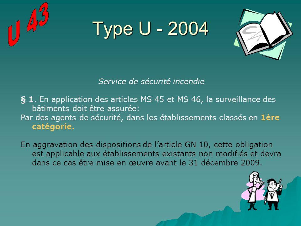 Type U - 2004 Service de sécurité incendie § 1. En application des articles MS 45 et MS 46, la surveillance des bâtiments doit être assurée: Par des a