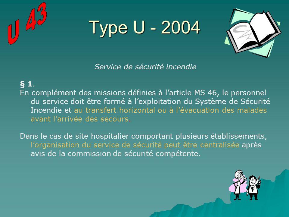 Type U - 2004 Service de sécurité incendie § 1. En complément des missions définies à larticle MS 46, le personnel du service doit être formé à lexplo