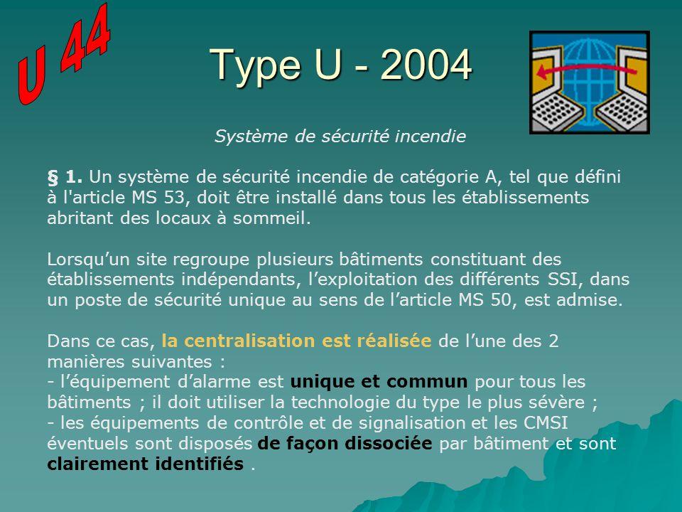 Type U - 2004 Système de sécurité incendie § 1. Un système de sécurité incendie de catégorie A, tel que défini à l'article MS 53, doit être installé d