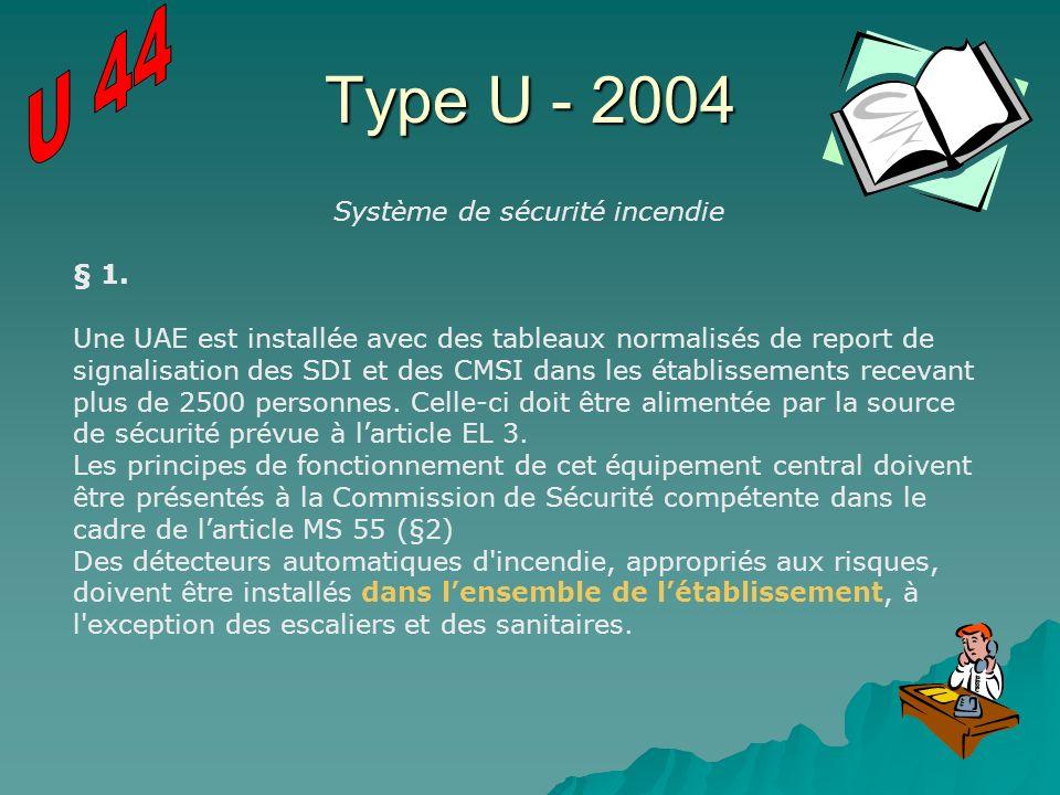 Type U - 2004 Système de sécurité incendie § 1. Une UAE est installée avec des tableaux normalisés de report de signalisation des SDI et des CMSI dans