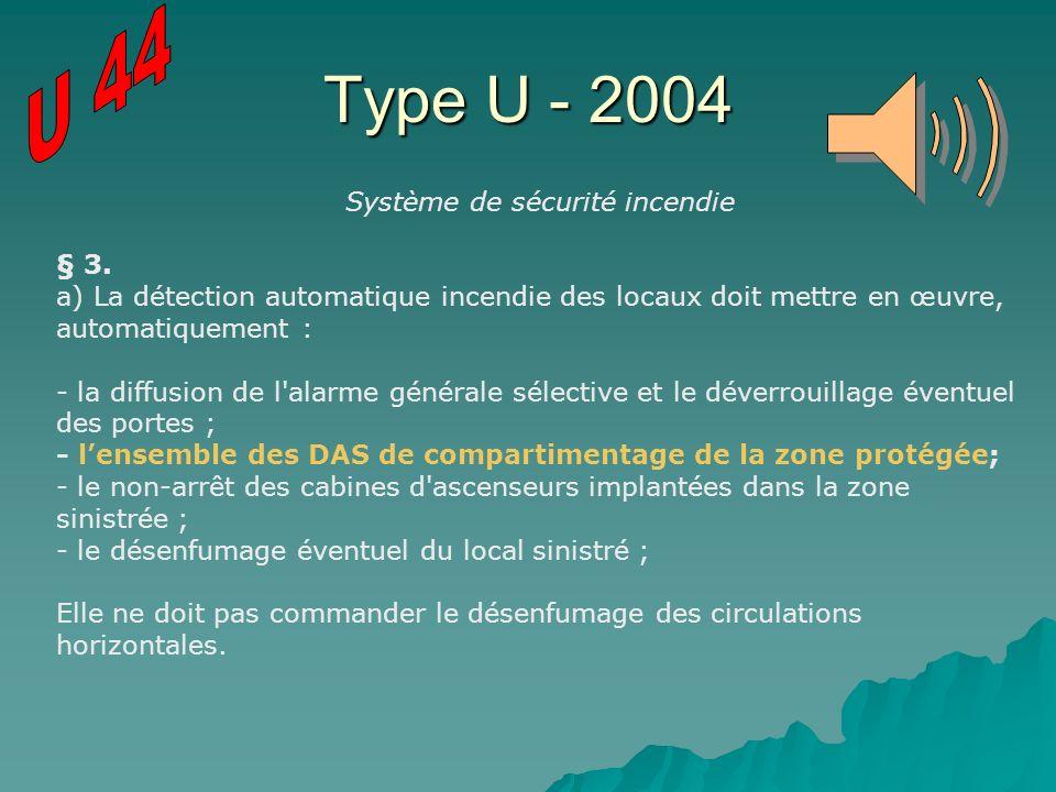 Type U - 2004 Système de sécurité incendie § 3. a) La détection automatique incendie des locaux doit mettre en œuvre, automatiquement : - la diffusion