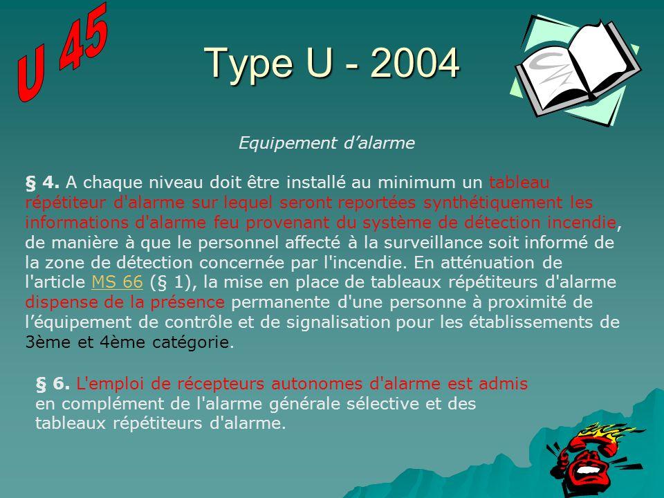 Type U - 2004 Equipement dalarme § 4. A chaque niveau doit être installé au minimum un tableau répétiteur d'alarme sur lequel seront reportées synthét