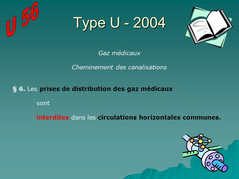 Type U - 2004 Gaz médicaux Cheminement des canalisations § 6. Les prises de distribution des gaz médicaux sont interdites dans les circulations horizo