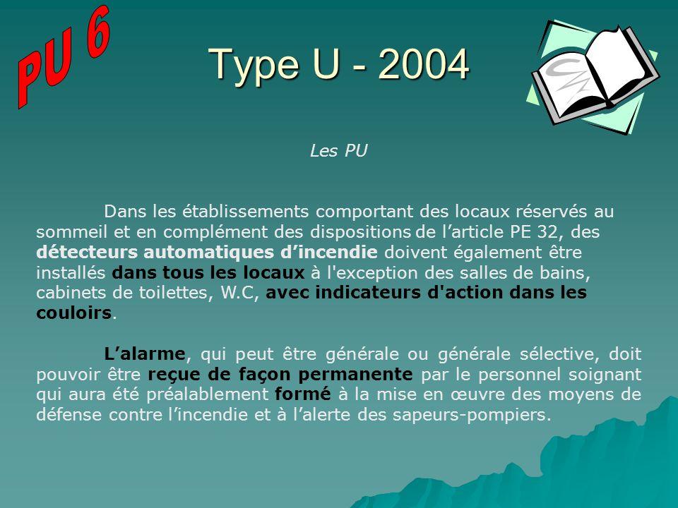 Type U - 2004 Les PU Dans les établissements comportant des locaux réservés au sommeil et en complément des dispositions de larticle PE 32, des détect