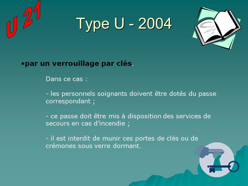 Type U - 2004 par un verrouillage par clés. Dans ce cas : - les personnels soignants doivent être dotés du passe correspondant ; - ce passe doit être