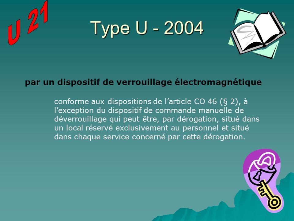 Type U - 2004 par un dispositif de verrouillage électromagnétique conforme aux dispositions de larticle CO 46 (§ 2), à lexception du dispositif de com