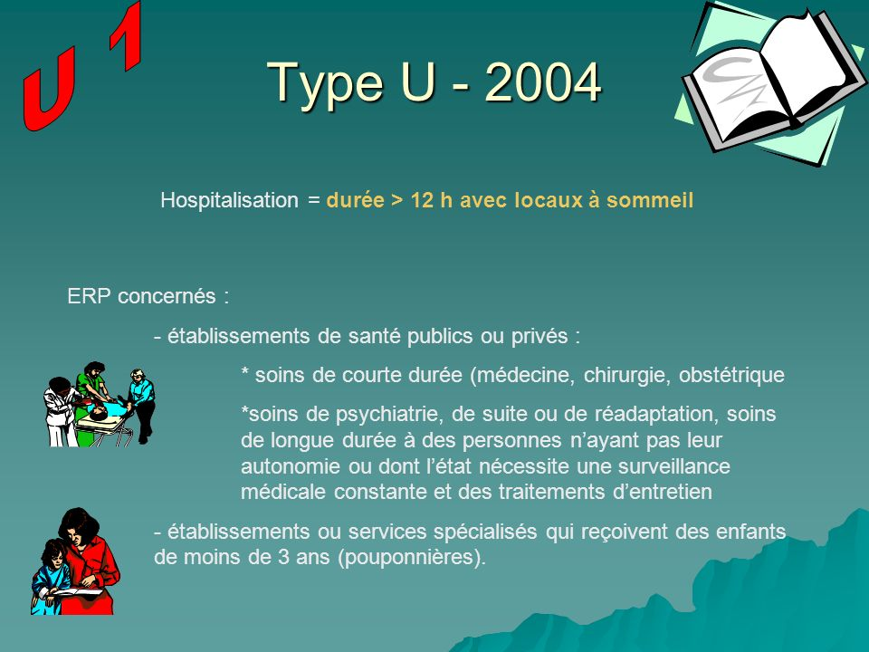 Type U - 2004 ERP concernés : - établissements de santé publics ou privés : * soins de courte durée (médecine, chirurgie, obstétrique *soins de psychi