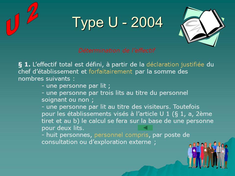 Type U - 2004 Détermination de leffectif § 1. Leffectif total est défini, à partir de la déclaration justifiée du chef détablissement et forfaitaireme