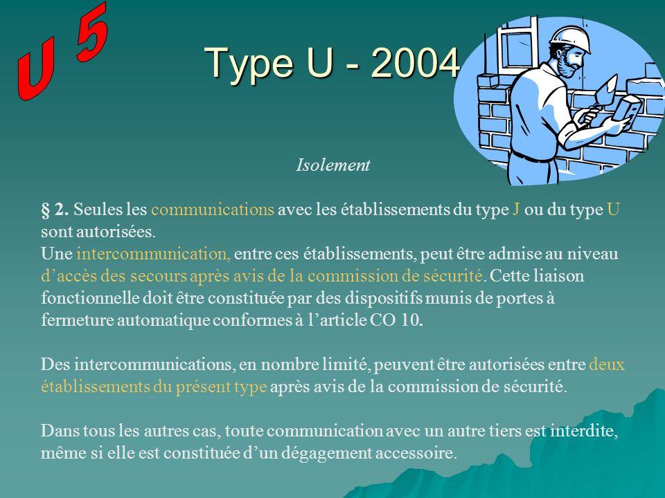 Type U - 2004 Isolement § 2. Seules les communications avec les établissements du type J ou du type U sont autorisées. Une intercommunication, entre c