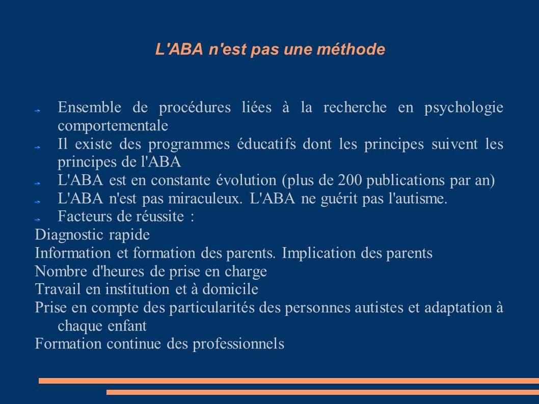 L'ABA n'est pas une méthode Ensemble de procédures liées à la recherche en psychologie comportementale Il existe des programmes éducatifs dont les pri
