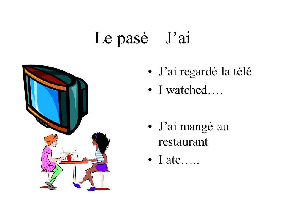 Le pasé Jai Jai regardé la télé I watched…. Jai mangé au restaurant I ate…..