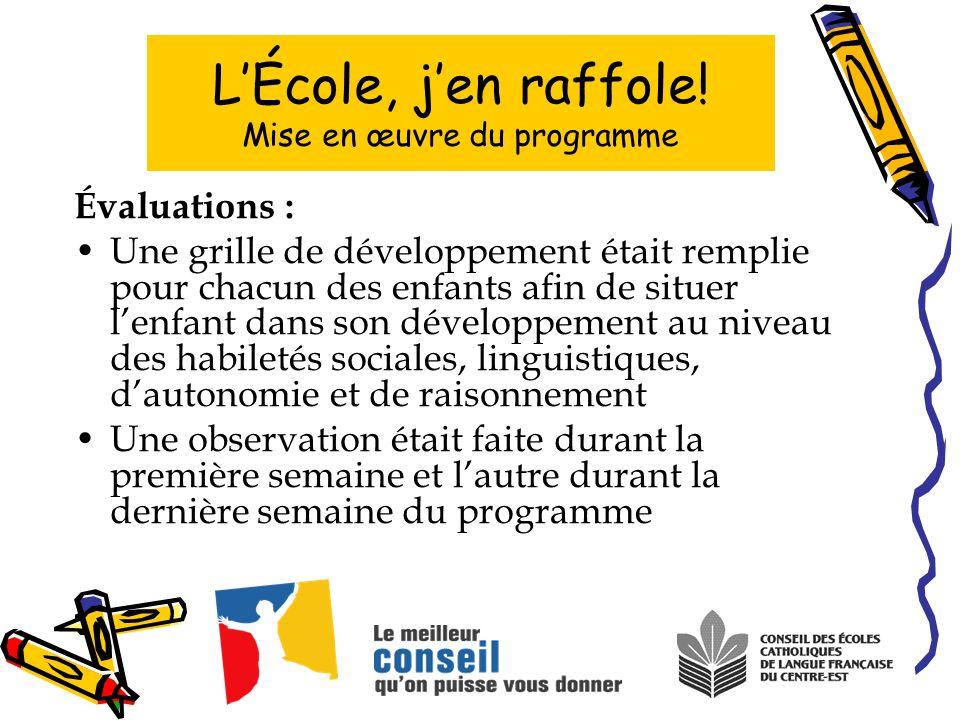 Évaluations : Une grille de développement était remplie pour chacun des enfants afin de situer lenfant dans son développement au niveau des habiletés