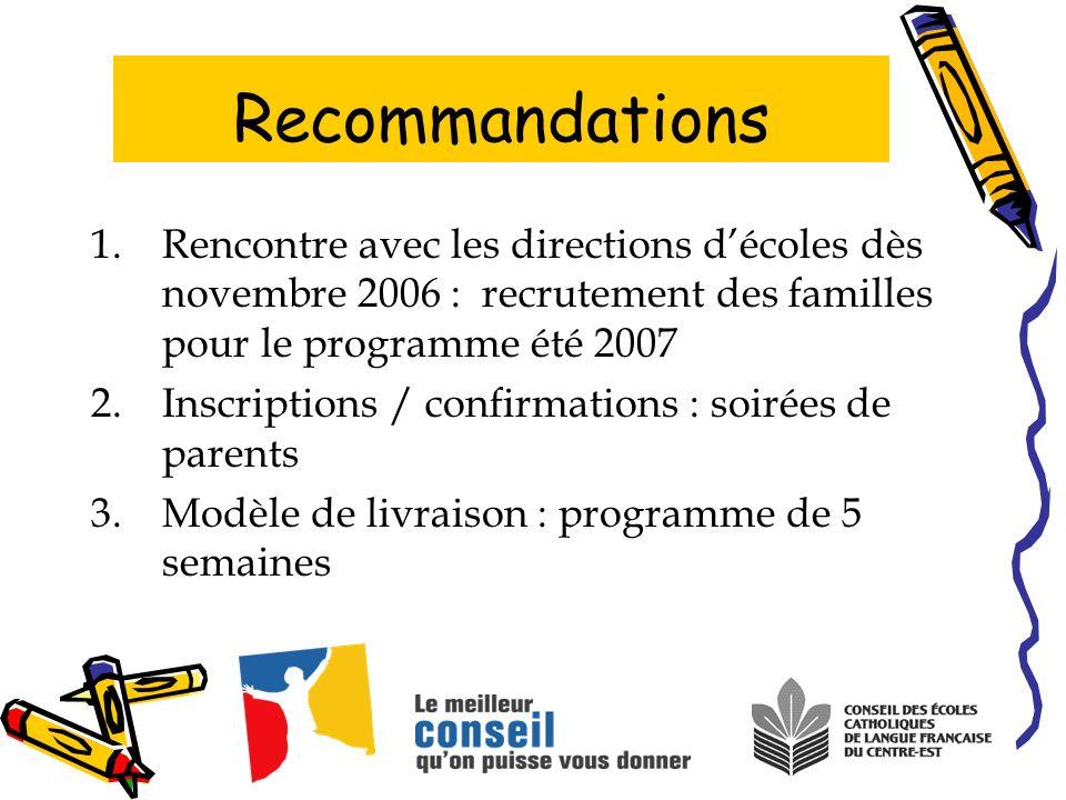 1.Rencontre avec les directions décoles dès novembre 2006 : recrutement des familles pour le programme été 2007 2.Inscriptions / confirmations : soiré